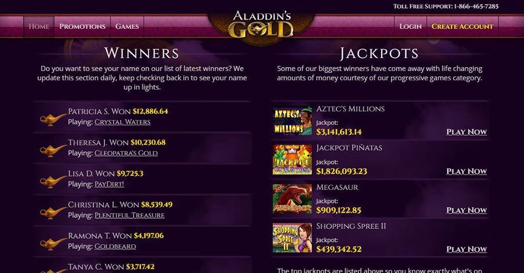 Aladdin's Gold Casino Screenshot