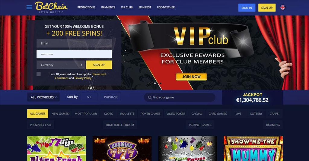 Betchain Casino Screenshot