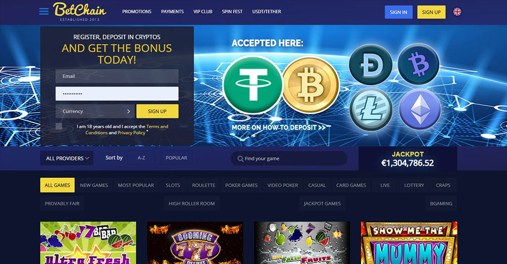 Betchain Casino Screenshot