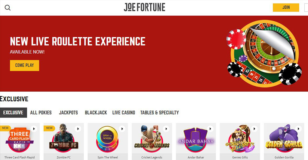 Joe Fortune Casino Screenshot