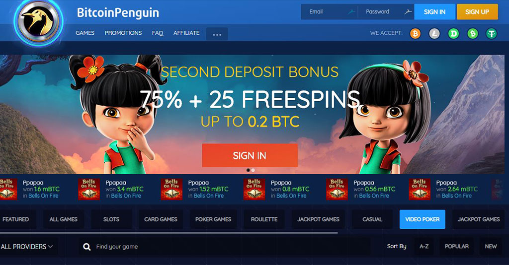 Bitcoin Penguin Casino Screenshot