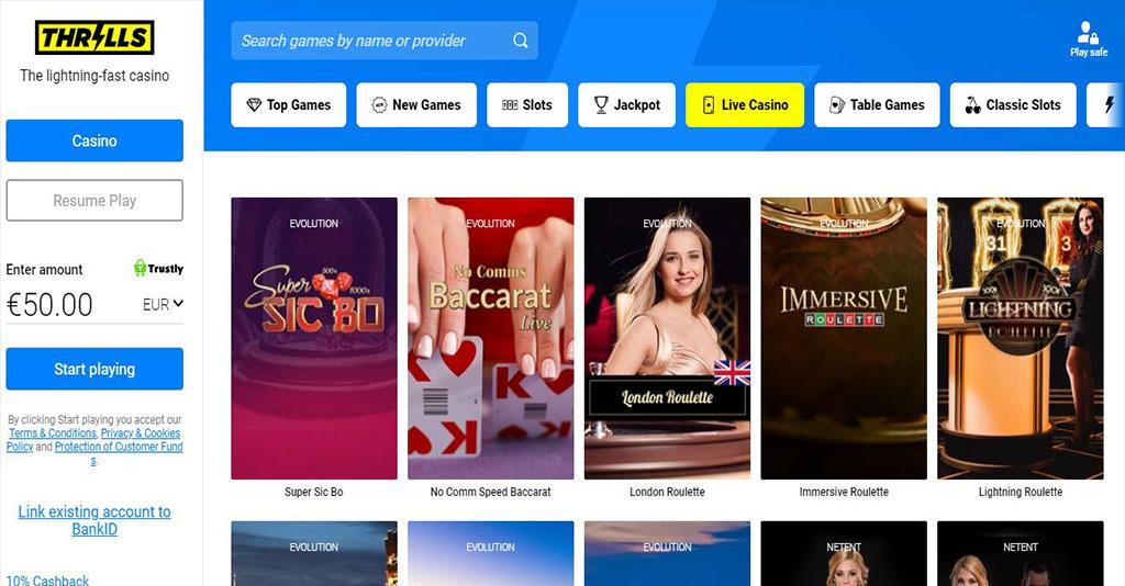 Thrills Casino Screenshot